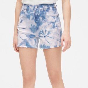 High Rise Stretch Denim Tie Dye Shorts
